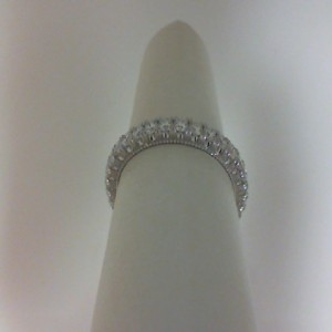 White 14 Karat Wedding Band With 0.92Tw Round G/H Si1 Diamonds  Name Renaissance  Ring Size 6.5