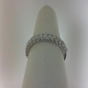 White 14 Karat Wedding Band With 0.45tw Round G/H SI1 Diamonds  Name Renaissance  Ring Size 6.5