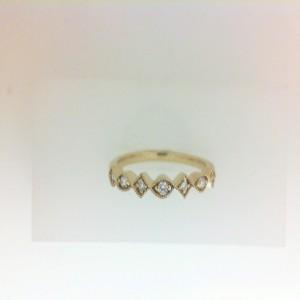 Yellow 14 Karat Wedding Band With 7=0.09Tw Round Diamonds Ring Size: 6.5