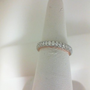White/Rose 14 Karat Prong Set Wedding Band With 28=0.65Tw Round Diamonds  Name Tradition  Ring Size 6.5