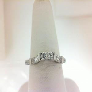 White 14 Karat Band With 2=0.19Tw Baguette Diamonds 12=0.22Tw Round Diamonds