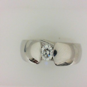 Artcarved: Gent S White 14 Karat Tension Set Wedding Band With One 0.25Ct Round Diamond Finish: Polished