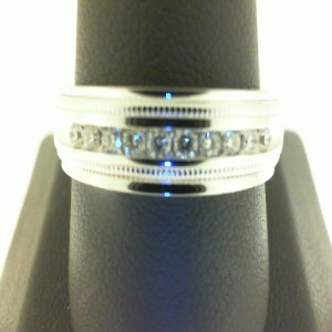 White 14 Karat Satin And Polish Wedding Band With 10=0.25Tw Round Diamonds