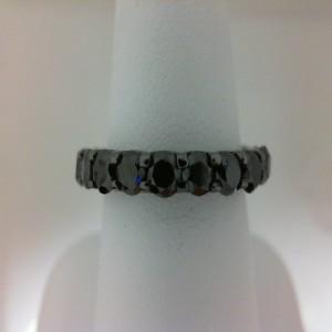 Black Rhodium Plated 14 Karat Eternity Ring With 21=3.30Tw Round Black Diamonds Serial #: 490797