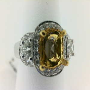 Two-Tone 18 Karat Fashion Ring With 60=0.83Tw Round Diamonds And One 1.59Ct Cushion Yellow Diamond