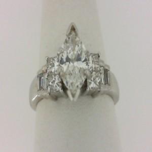 White 14 Karat Engagement Ring One 0.80Ct Marquise H Si2 Diamond 4=0.48Tw Princess Diamonds 2=0.14Tw Baguette Diamonds 2=0.12Tw Baguette Diamonds