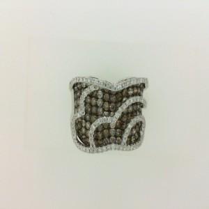 14 Karat W/Gold 2.14 Carat Tw Brown & White Diamond Ring
