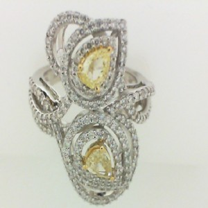 White 18 Karat Fashion Ring With 1.25Tw Round White & Yellow Diamonds
