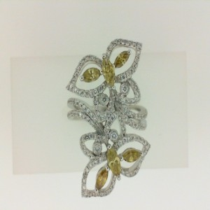 14Kw .58Ct Golden Diamond & 0.56Ct Round White Diam Fashion Butterfly Ring