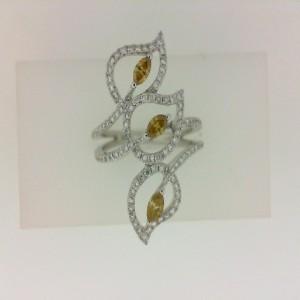 14Kw .25Ct Golden Mq Diamond & .41Ct Round White Diamond Fashion Ring