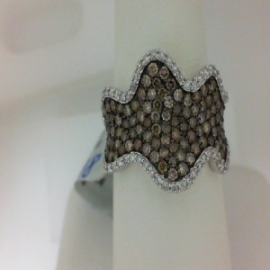 Lady'S White 14 Karat Fashion Ring With 55=0.32Tw Round Diamonds And 99=1.06Tw Round Brown Diamonds Serial #: 488403