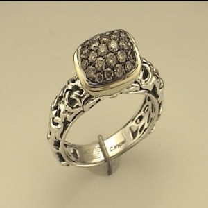 Two-Tone Sterling Silver And 14Ky Fashion Ring With 24=0.65Tw Round Brown Diamonds