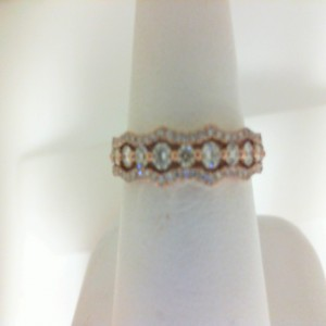 Rose 14 Karat Fashion Ring With 58=0.42Tw Round Diamonds And 11=0.14Tw Round Diamonds