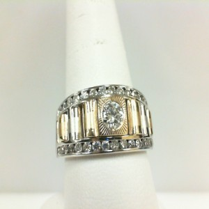 Two-Tone 14 Karat Satin And Polish Ring With 1.15Tw Round Diamonds