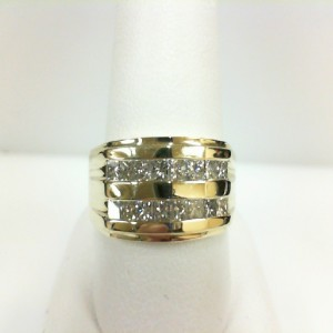 Yellow 14 Karat Ring With 16=1.10Tw Princess G Si1 Diamonds  Ring Size