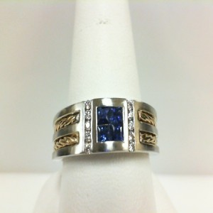 Two-Tone 14 Karat Ring With 4=0.50Tw Princess Sapphires And 10=0.14Tw Round G Si1 Diamonds Ring Size: 10