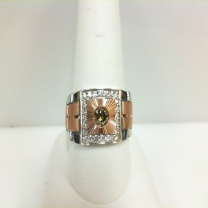 White/Rose 14 Karat link Ring With One 0.30Ct Round Brown Diamond And 24=0.52Tw Round  Diamonds