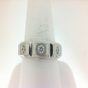 White 14 Karat  Ring With 3=0.27Tw Round H/I Si1-2 Diamonds