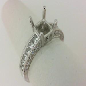 Natalie K: 14 Karat White Gold 0.96 Ctw Diamond Princess Semi-Mount