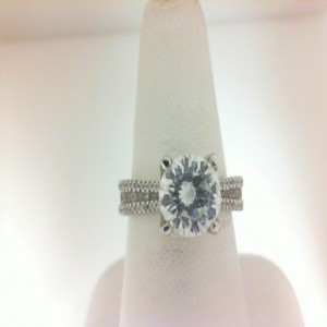 Natalie K: White 14 Karat Semi Mount Ring Size 6.5 With 90=0.60Tw Round Diamonds Serial #: 488485