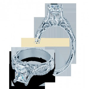 White 18 Karat Milgrain Edge Semi Mount Ring  With 0.25Tw Round Diamonds  Name Venetian  Center Size 6x6mm