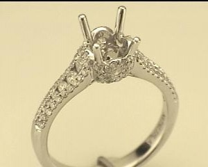 Natalie K: White 14 Karat Semi Mount Ring Size 6.5 With 104=0.69Tw Round Diamonds Center Size: 6.5Mm Serial #: 510533
