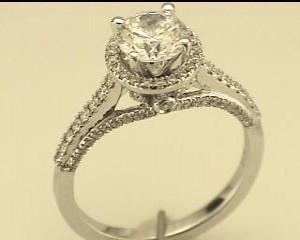 Natalie K: White 14 Karat Semi Mount Ring Size 6.5 With 91=0.42Tw Round Diamonds Center Size: 6.5Mm Serial #: 508040