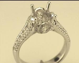 Natalie K: White 14 Karat Semi Mount Ring Size 6.5 With 112=1.19Tw Round Diamonds Center Size: 8Mm Serial #: 510527