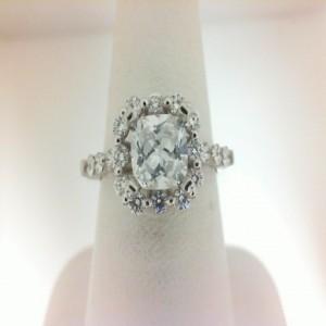 Natalie K: White 14 Karat Semi Mount Ring Size 6.5 With 18=0.55Tw Round Diamonds Serial #: 481560