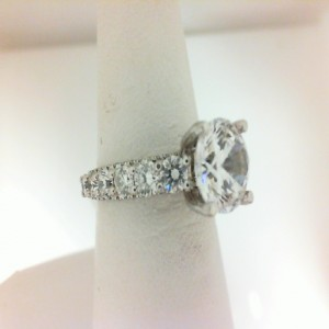 Natalie K: White 14 Karat Semi Mount Ring Size 6.5 With 100=1.68Tw Round Diamonds Center Size: 8Mm Serial #: 484003