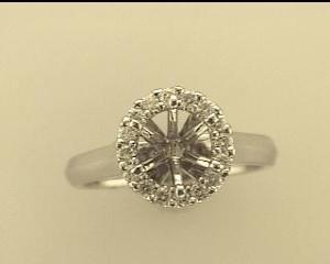 Natalie K: White 14 Karat Semi Mount Ring Size 6.5 With 16=0.29Tw Round Diamonds Serial #: 488499