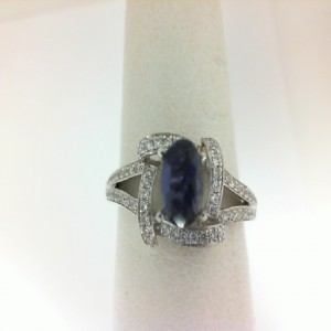 White 14 Karat Fashion Ring With 70=0.22Tw R Diamonds And One 0.42Ct Oval Iolite