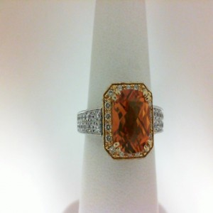 Two-Tone 18 Karat Ring With 108=0.71Tw Round White & Yellow Diamonds 2= Baguette Diamonds And 1.82 Twt Citrine