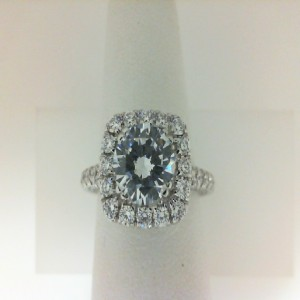 White 18 Karat Semi Mount Ring With 0.90Tw Round Diamonds  Name Couture  Center Size 7.5mm