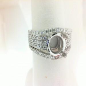 White 18 Karat Semi Mount Ring With 96=0.67Tw Round Diamonds