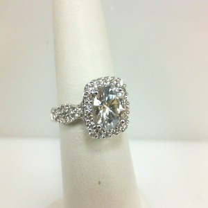 White 14 Karat Ring With 0.43Tw Round Diamonds  NameRenaissance  Center Size 7mm