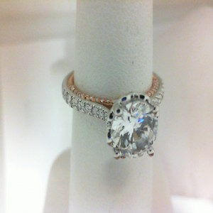 White/Rose 18 Karat Ring  With 0.50Tw Round Diamonds  Name Couture  Center Size 7.5MM