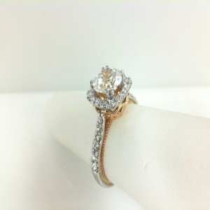 White/Rose 18 Karat Filigree Semi Mount Ring With 0.45Tw Round Diamonds  Name Couture  Center Size 7.25mm