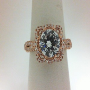 Venetian Rose 18 Karat Semi Mount With 0.40Tw Round Diamonds