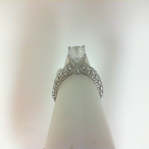 White 14 Karat Ring  With 0.67Tw Round Diamonds  Name Renaissance  Center Size 6.8mm
