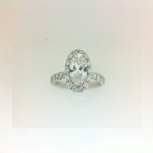 White 14 Karat Ring  With 0.58Tw Round G/H Si1 Diamonds  Name Renaissance  Center Size 6.8