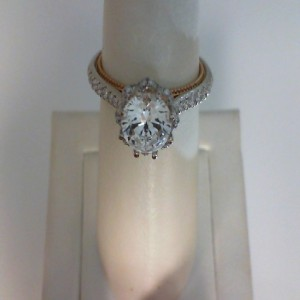 White/Rose 18 Karat Ring  With 0.39Tw Round G/H Si1 Diamonds  Name Couture  Center Size 6.8mm