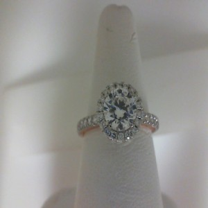 White/Rose 14 Karat Milgrain Semi Mount Ring With 0.63Tw Round Diamonds  Name Tradition  Center Size 6mm Cz