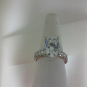 White/Rose 14 Karat Milgrain Semi Mount Ring With 24=0.83Tw Round Diamonds  Name Tradition  Center Size 8mm Cz