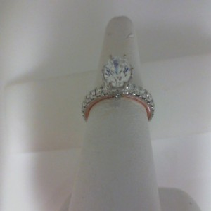White/Rose 14 Karat Milgrain Semi Mount  Ring With 0.98Tw Round Diamonds  Name Tradition  Center Size 6mm