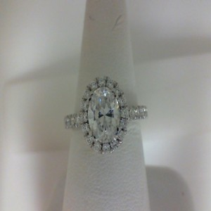 White 14 Karat Milgrain Semi Mount Ring With 44=0.84Tw Round Diamonds  Name Tradition  Center Size 1.5Cz