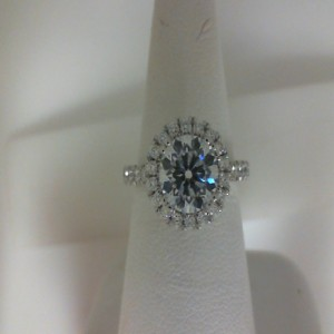 White 14 Karat Milgrain Semi Mount Ring  With 46=0.86Tw Round Diamonds  Name Tradition  Center Size 7mm Cz