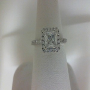 White 14 Karat Milgrain Semi Mount Ring  With 48=0.44Tw Round Diamonds  Name Tradition  Center Size 6mm Cz