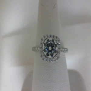 White 14 Karat Milgrain Semi Mount Ring With 58=0.45Tw Round Diamonds  Name Tradition  Center Size 6mm