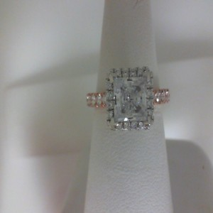 Rose 14 Karat Milgrain Semi Mount Ring With 44=1.05Tw Round Diamonds  Name Tradition  Center Size 7mm cz